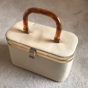 Cream Leather Vintage Box Purse with Resin Handle